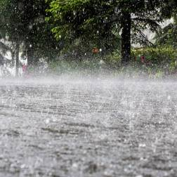 Torrential rain causing flood.